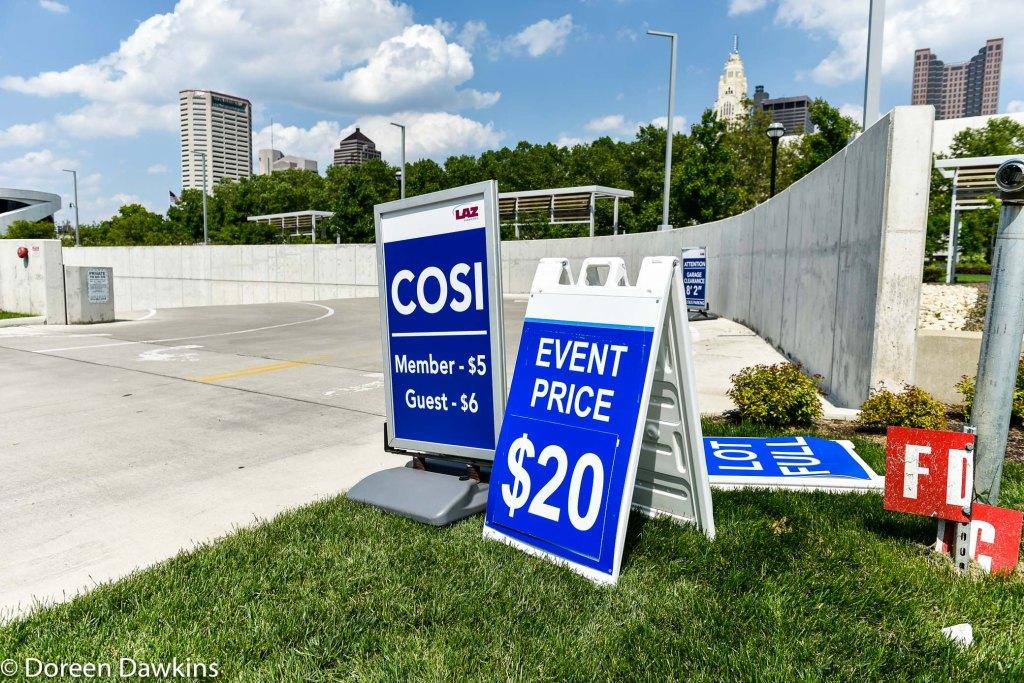COSI parking lot sign, Columbus Taco Fest