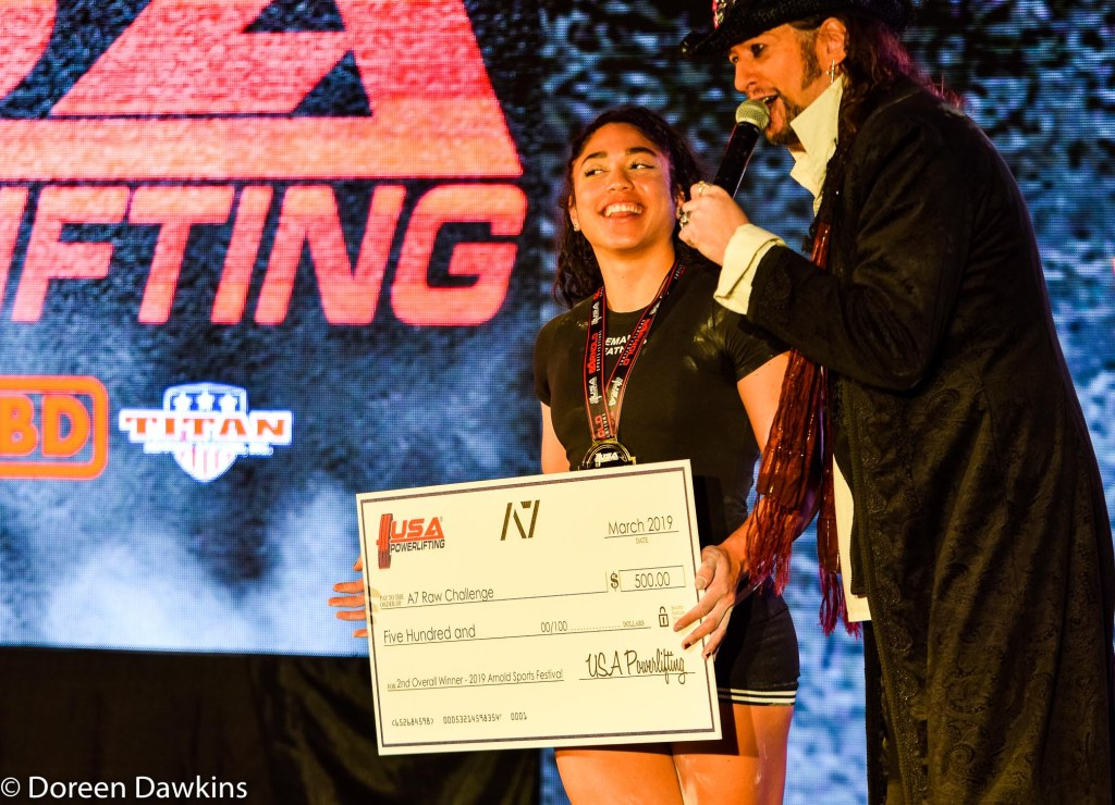 Women's 2nd place overall winner (USA Powerlifting A7 Raw Challenge), Arnold Sports Festival USA 2019: On the Cheap