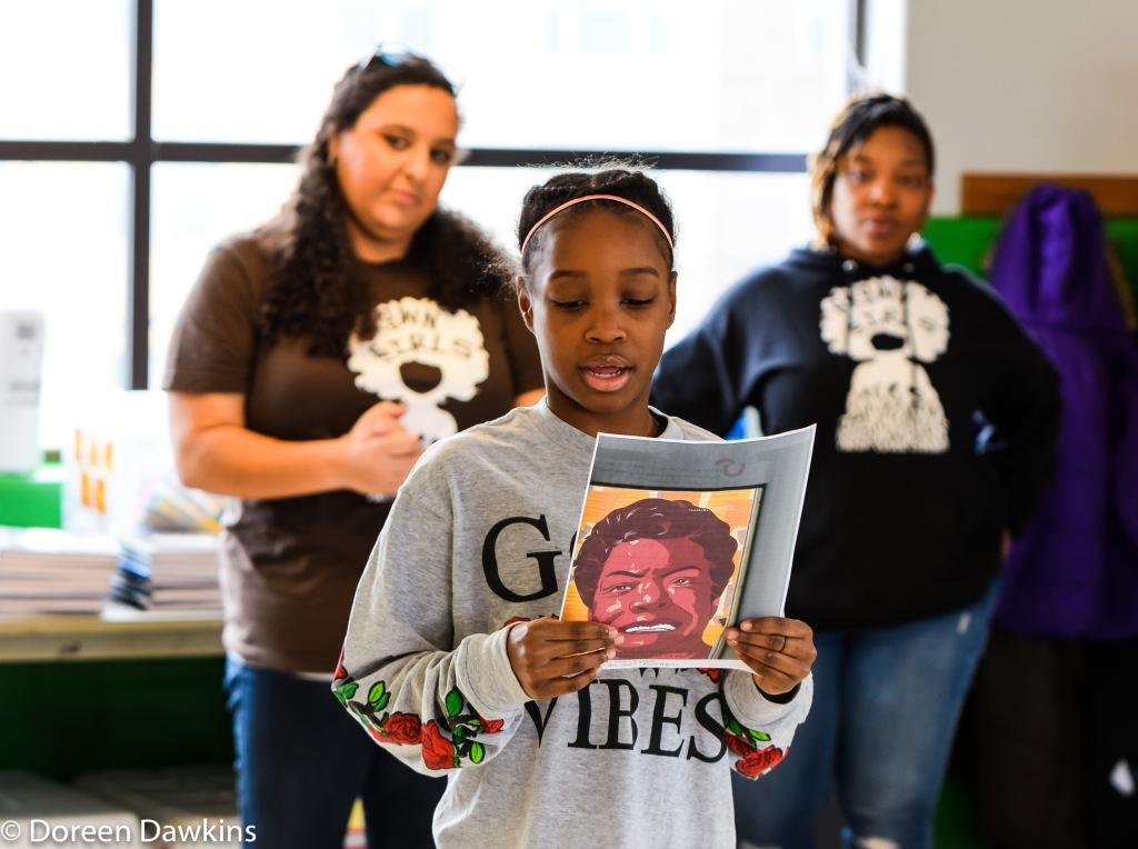 Ta'arah reading about Maya Angelo, Brown Girls Mentoring