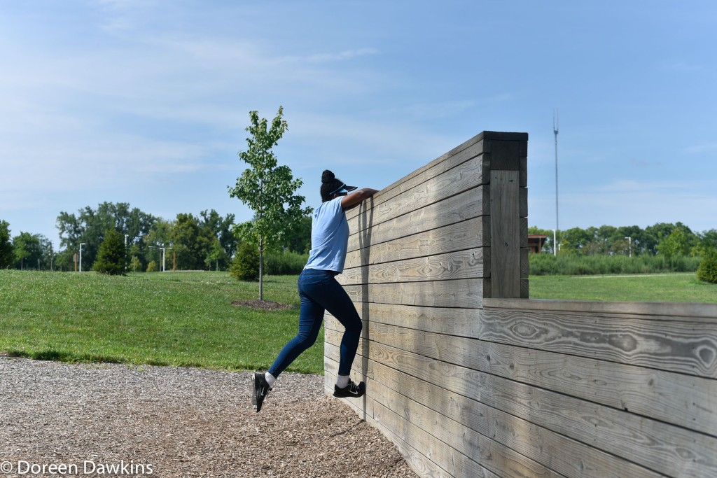 Wall climb at the Scioto Audubon Metro Park Obstacle Course