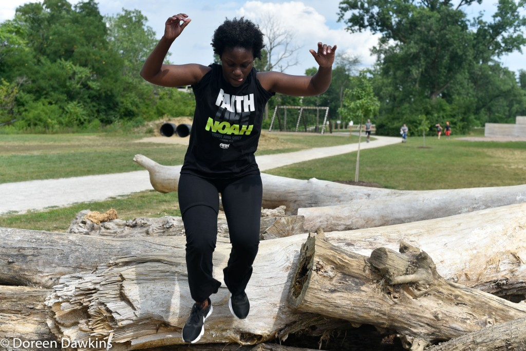 Log run at the Scioto Audubon Metro Park Obstacle Course