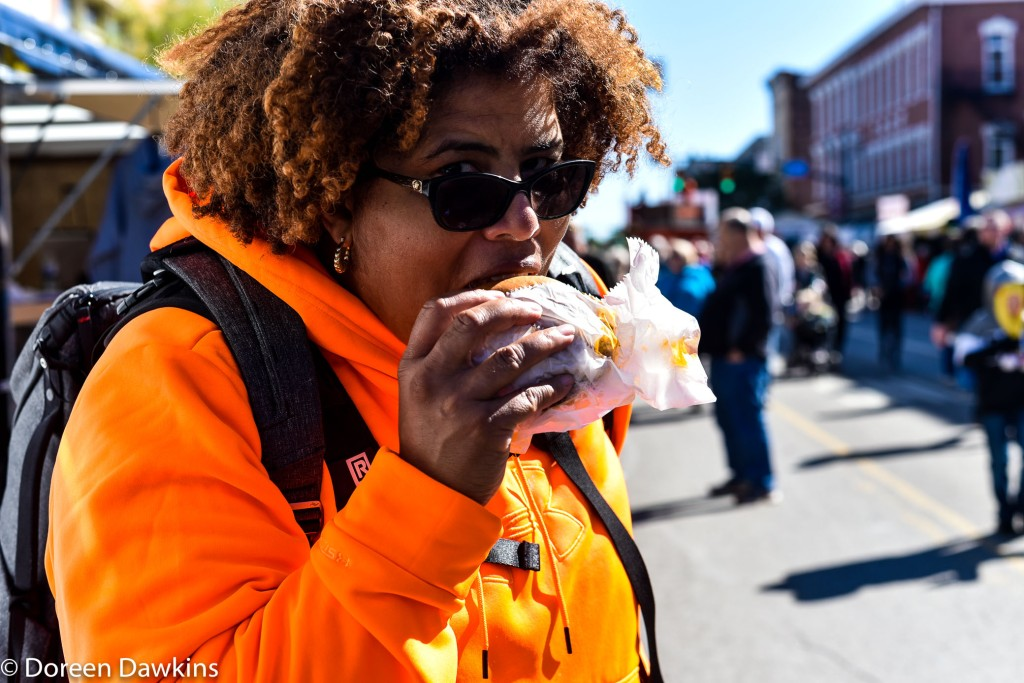 Doreen Dawkins what is the verdict on the pumpkin burger? Circleville Pumpkin Show 2018
