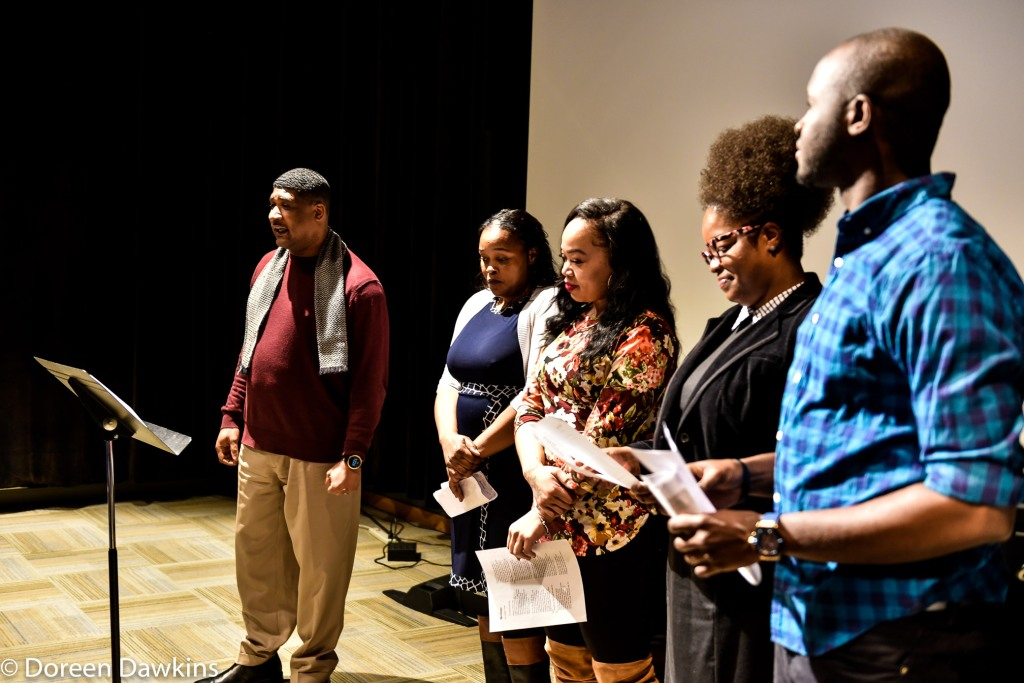 "Allen Coleman and students presenting Countee Cullen's ""Heritage"", Poets in Black featuring Dr. Crystal Robinson Clark"