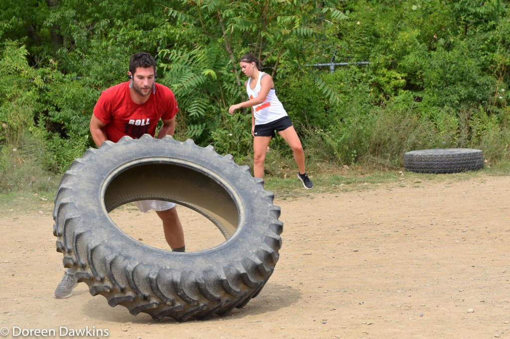 Tire Flip at the Scioto Audubon Metro Park Obstacle Course