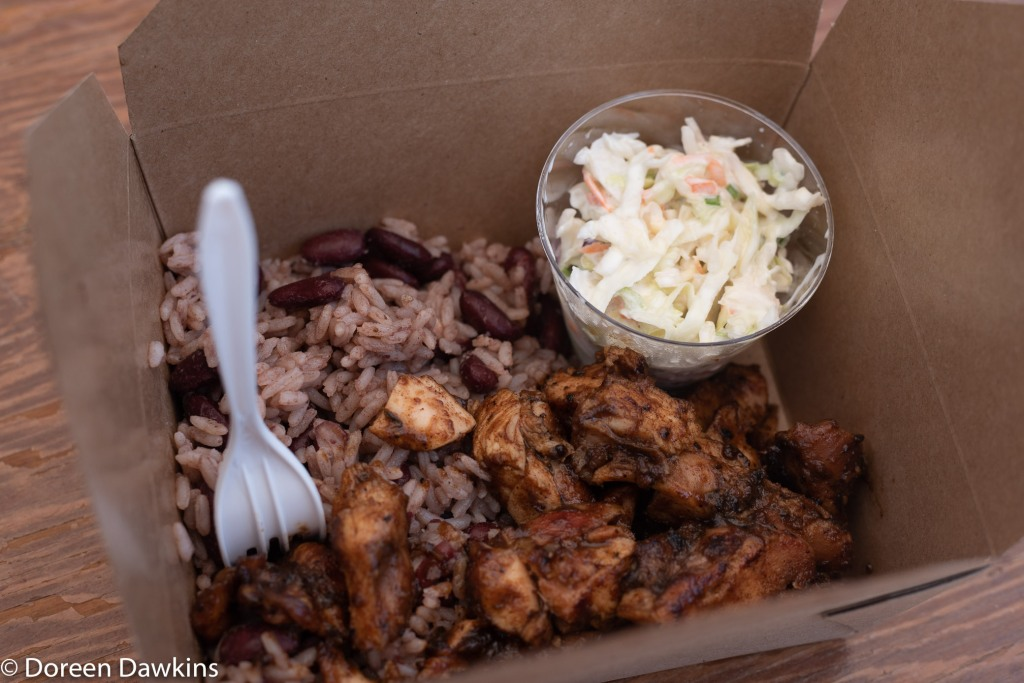 Jerk chicken, rice and peas, and coleslaw, Twinado Kitchen Jerk Shack at the Whitehall food truck festival 2018