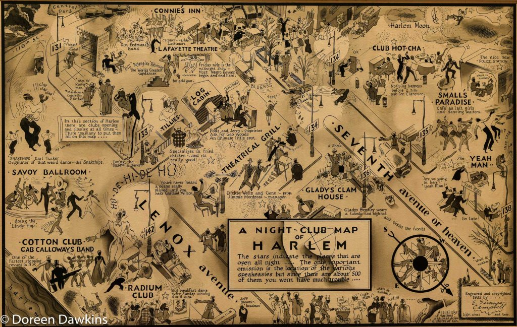 A Night-Club map of Harlem done 1931 completed by E. Simms Campbell.: I, Too Sing America: the Harlem Renaissance at 100