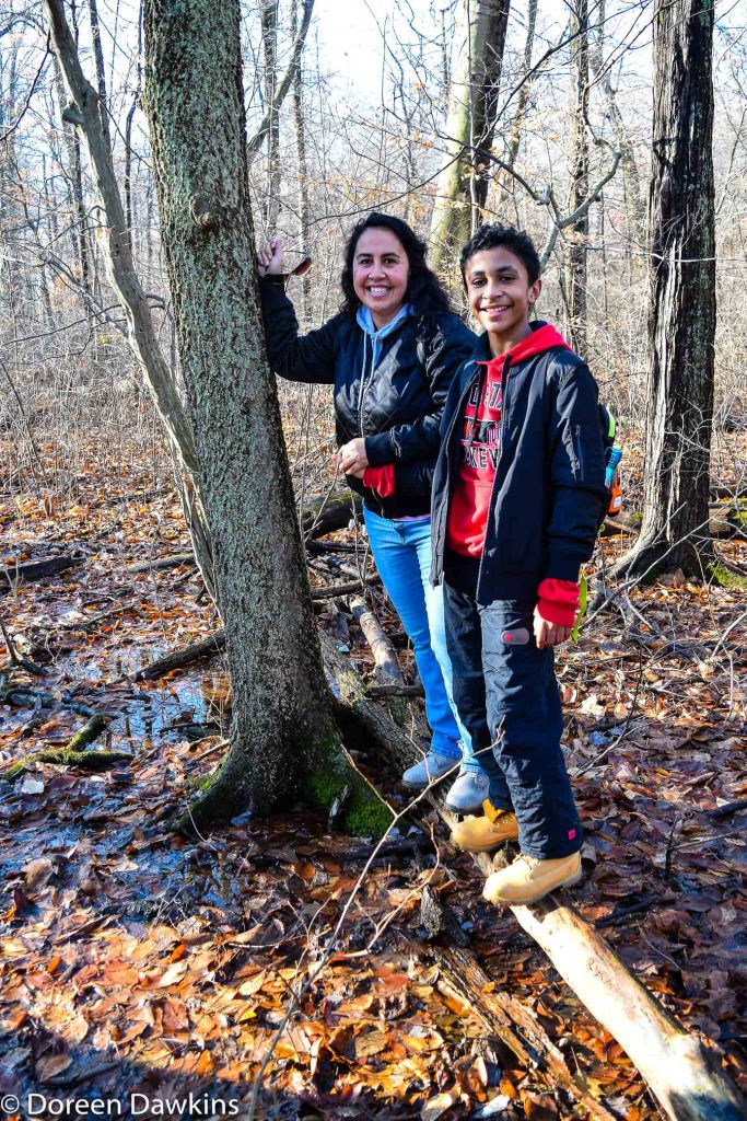 Jennifer Bradley and son, Blacklick Woods Metro Park Winter Hike 2019