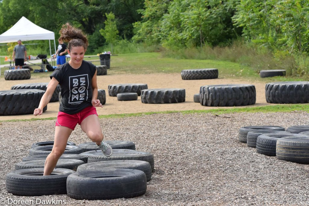 Tire Run at the Scioto Audubon Metro Park Obstacle Course