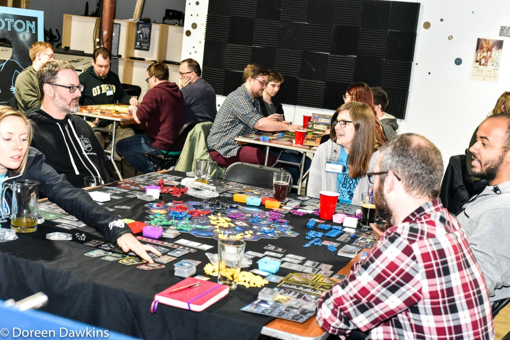 Cassadi Thomas playing Twilight Imperium at the  24 Hour Board Game Marathon for Nationwide Children's Hospital 2018