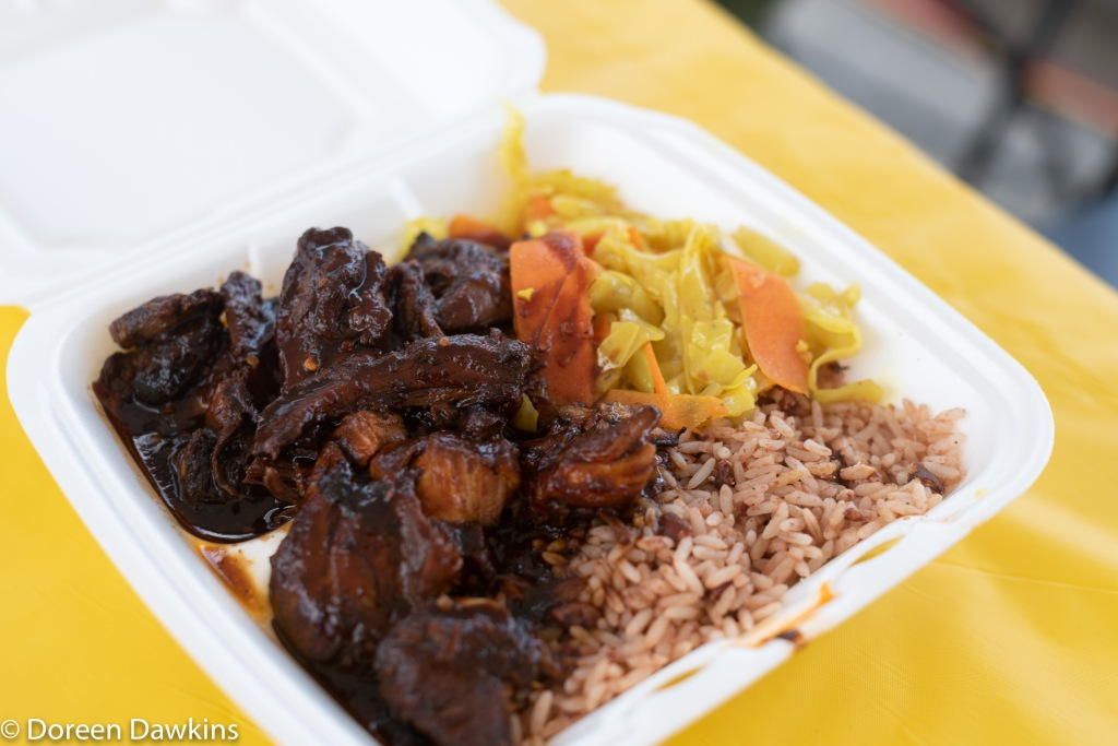 Jerk chicken, rice and peas, and cabbage, Dave's Caribbean Food truck at the Whitehall food truck festival 2018