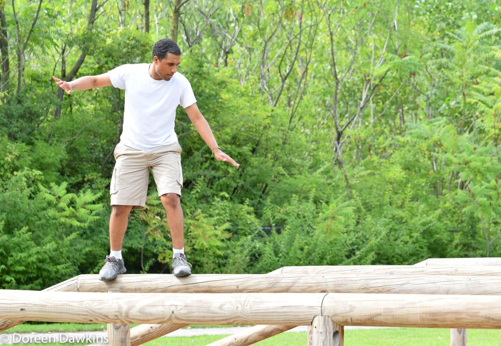 Balance Beam at the Scioto Audubon Metro Park Obstacle Course