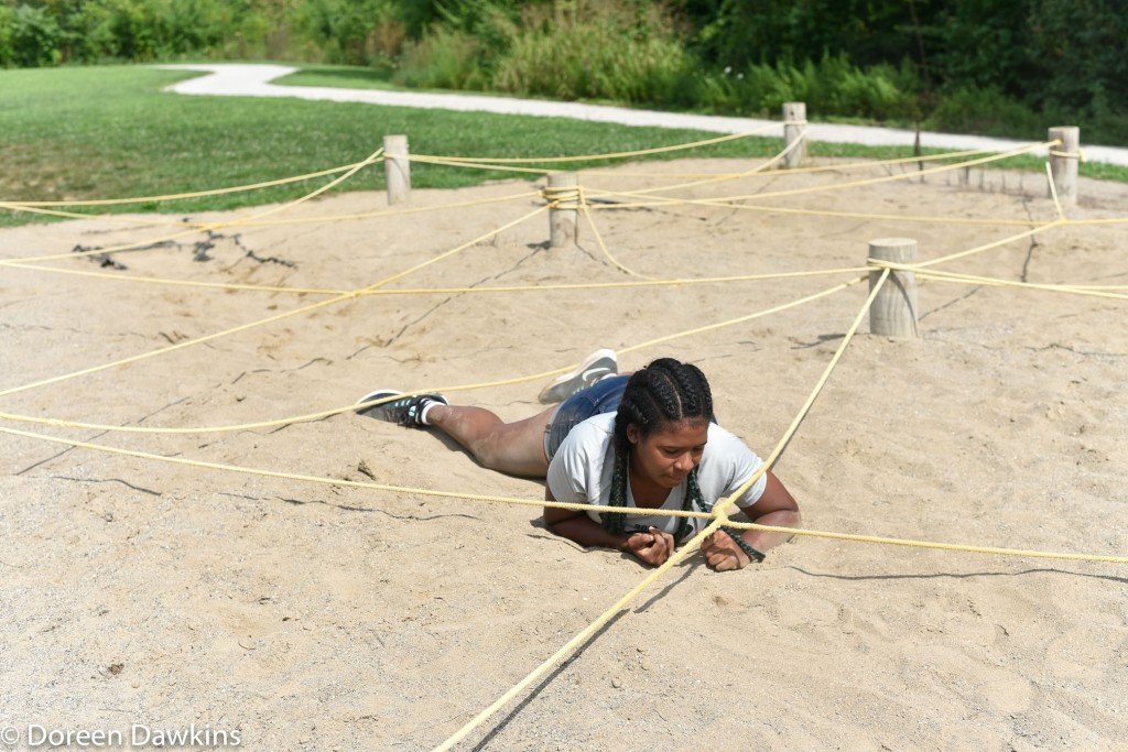 Belly Crawl at the Scioto Audubon Metro Park Obstacle Course