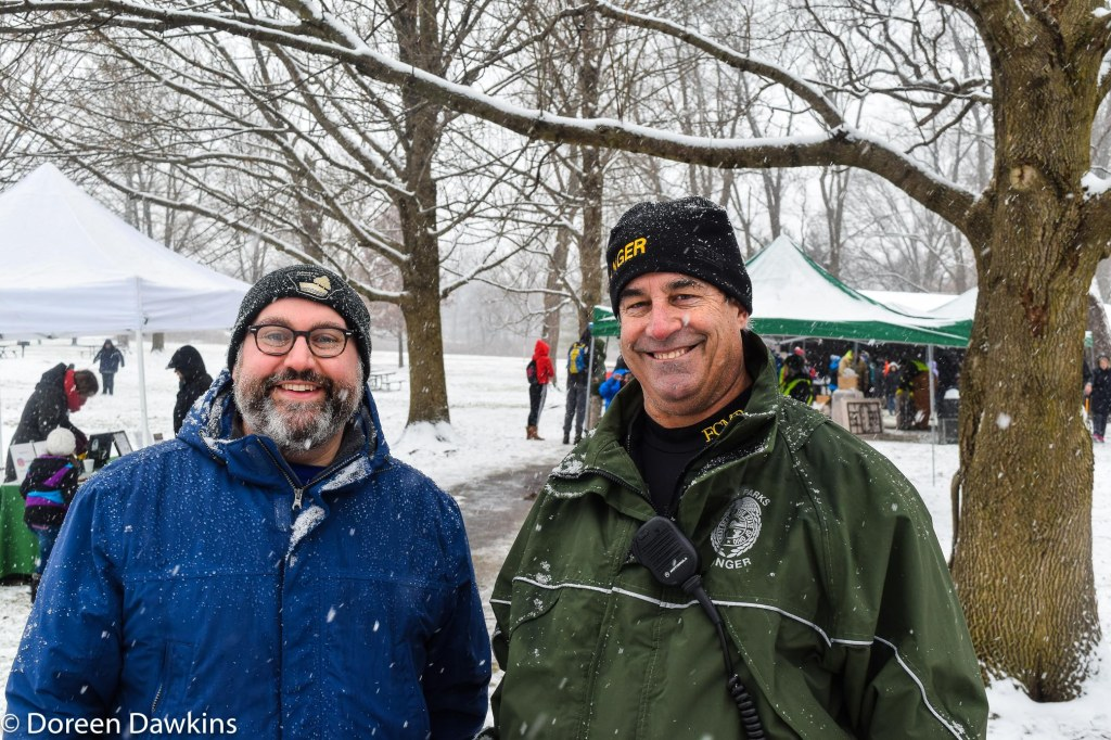 Aryeh Alex President of the Friends of the Metro Parks and Larry Peck Deputy Director of Metro Parks, Sharon Woods Metro Park Winter Hike