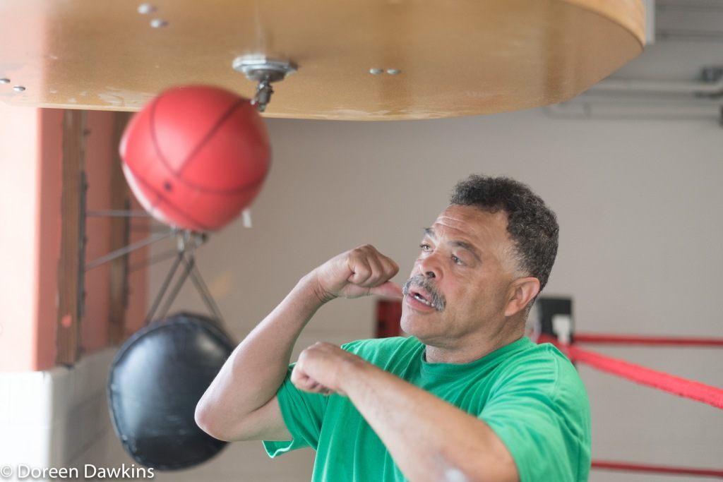 Jerry Page shows no mercy on the speed bag, Introducing Beatty Community Center Boxing and Jerry Page