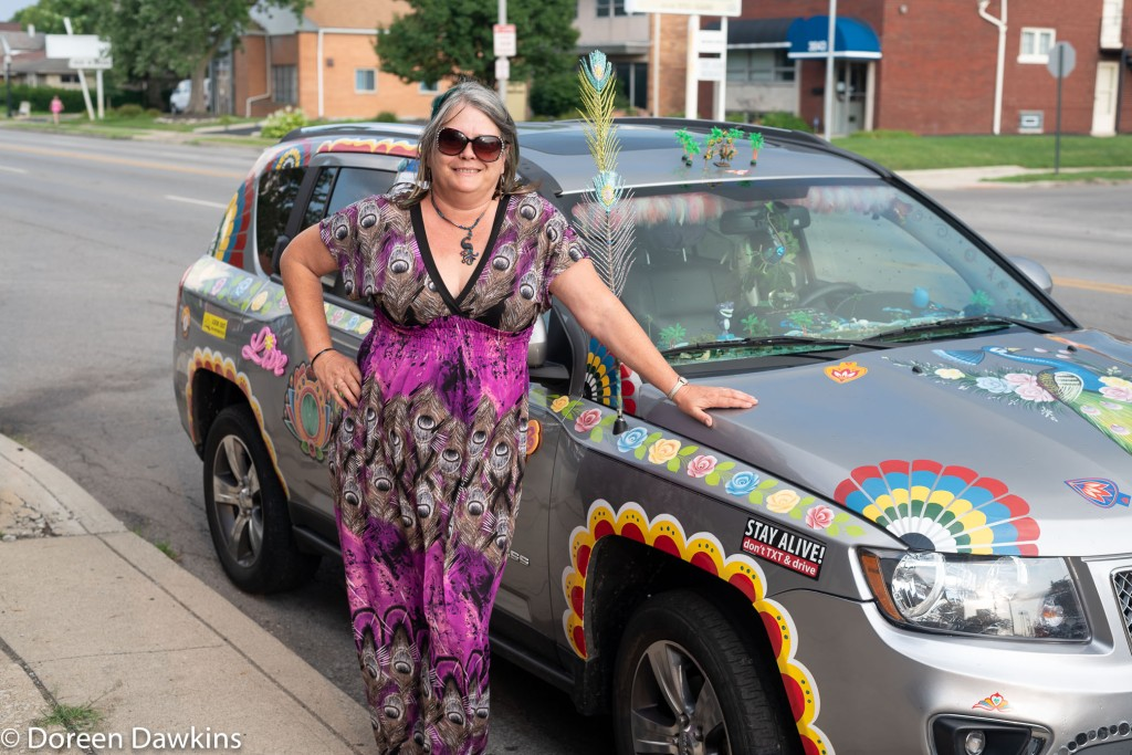 Micki B Pike, Percival the Peacock Art Car, @Percival_theartcar