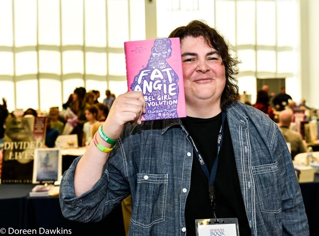 e.E. Charlton-Trujillo author of Fat Angie Rebel Girl Revolution, Instagram: @pinatadirector, Ohioana Book Festival
