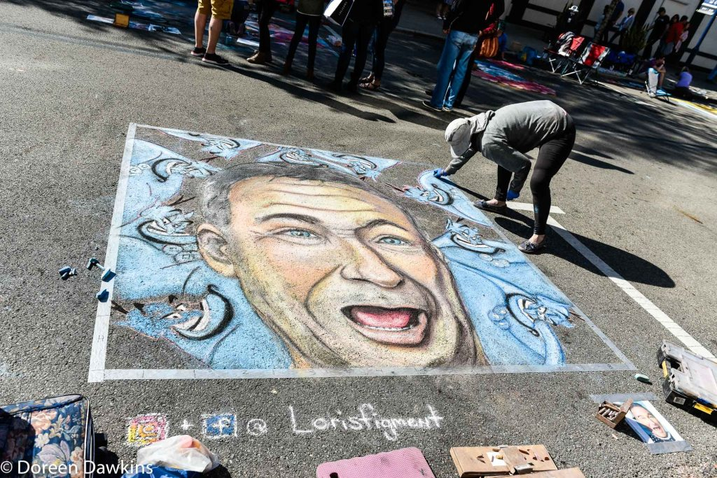 "Artist Lori Hughes, ""Robin Willams based off Logan Square's Mural "" Chalk the Block 2019"