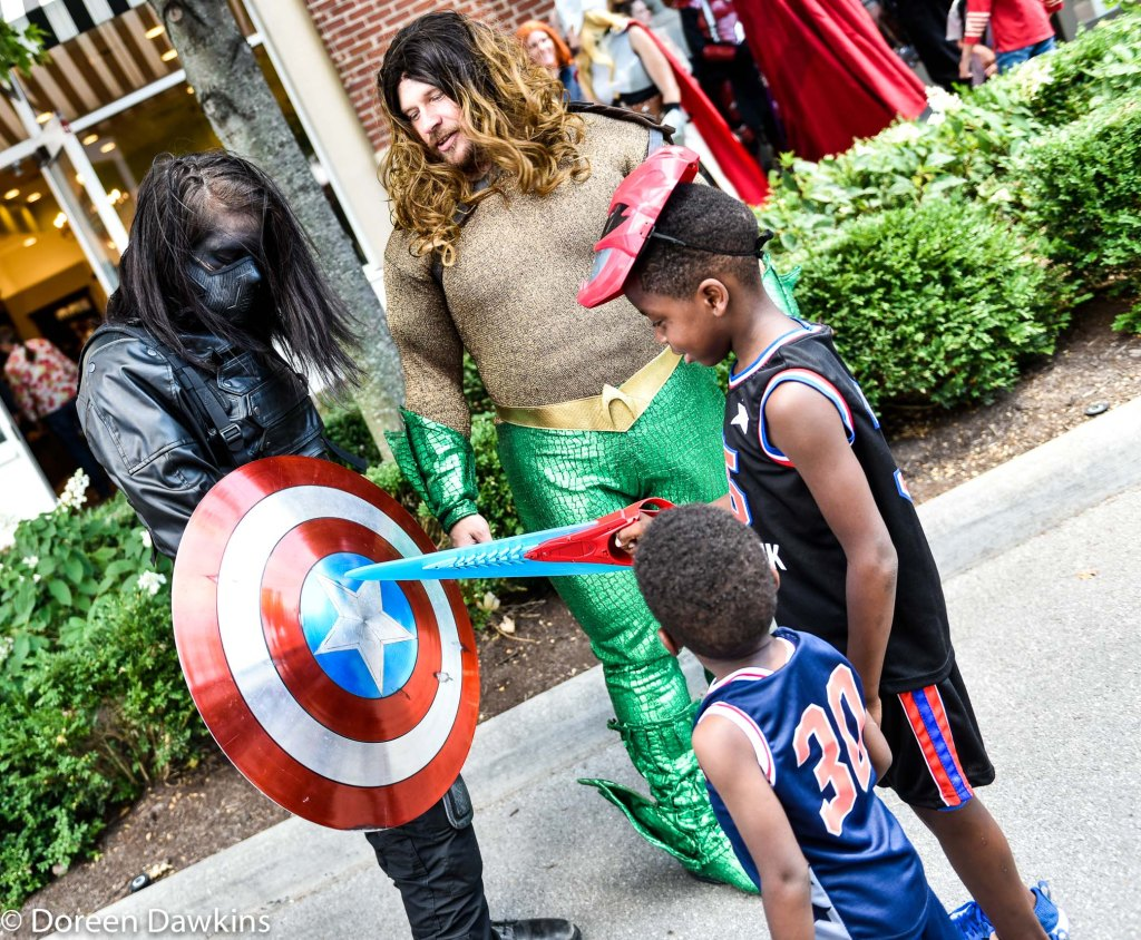 Children with the superheroes of their choice, Superhero Day at Easton Town Center 2019