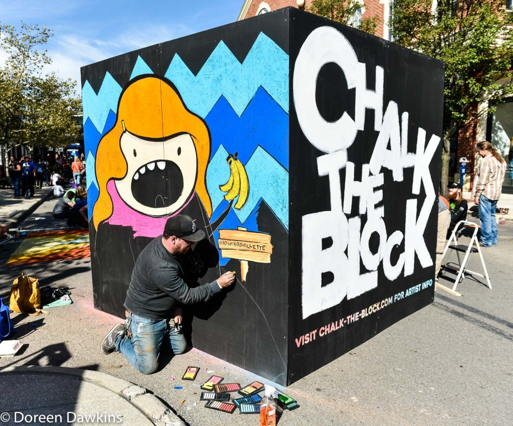 Artist Adam Brouilette, Chalk the Block 2019