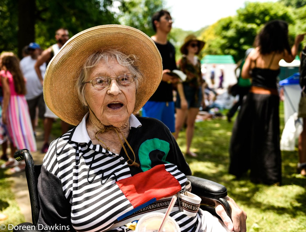 The oldest Comfest visitor (91 years old) , MaryAnne Galt, Comfest 2019
