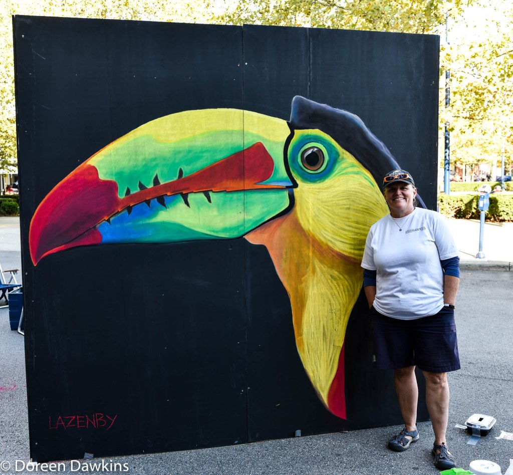 "Artist Sheryl Lazenby, ""Razor Billed Toucan"", Chalk the Block 2019"