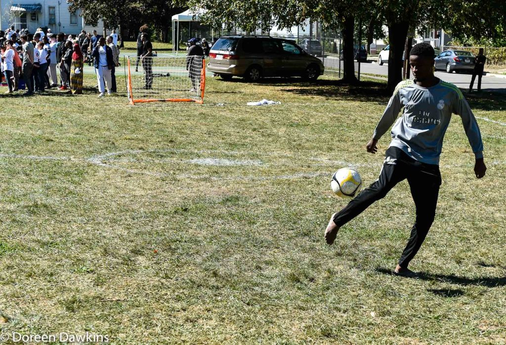 Soccer anyone?, Using the equipment donated by Harmony Project at Sullivant Gardens Community Center