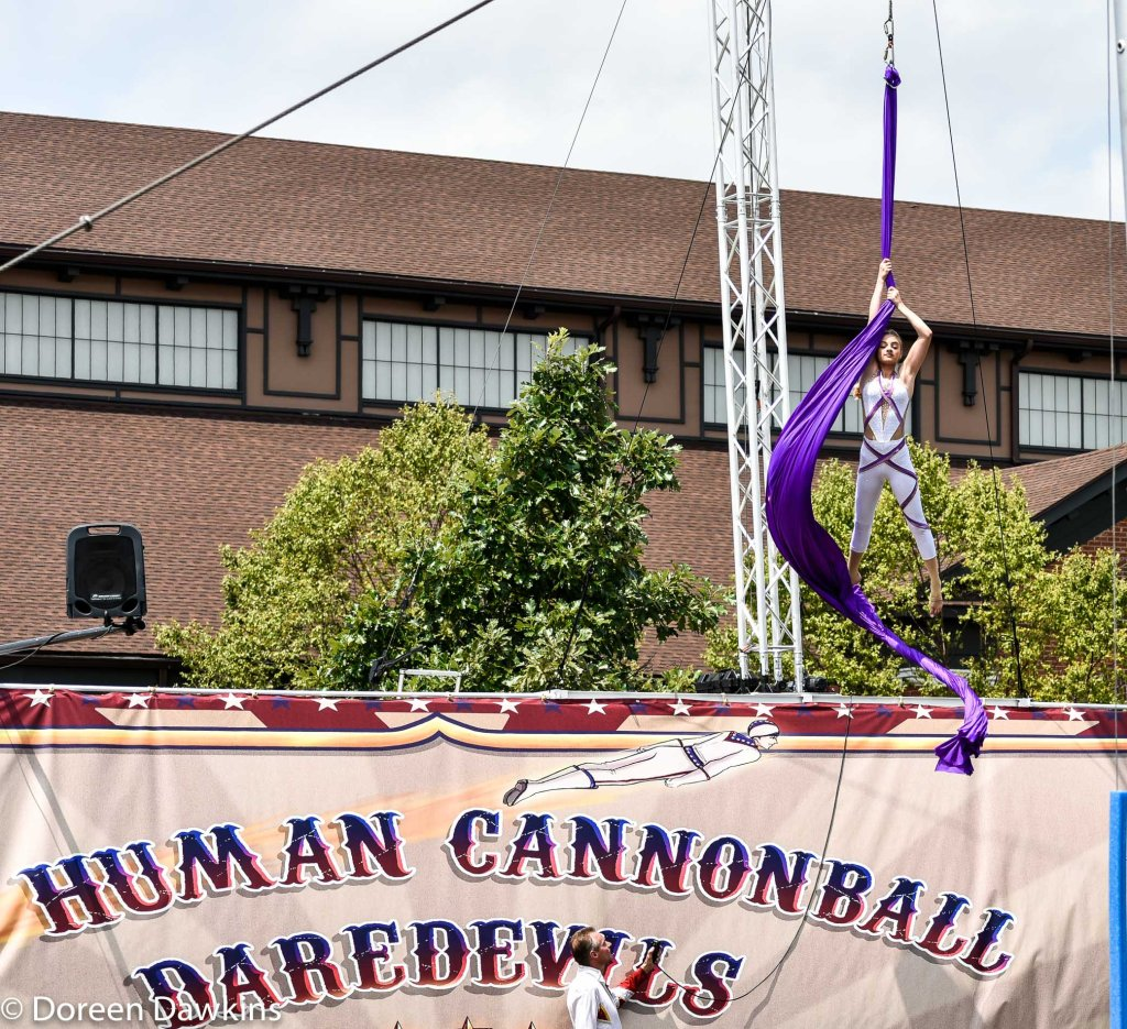 Skyler Miser of the Human Cannonball Crusaders performing at 15 years old, Ohio State Fair 2019