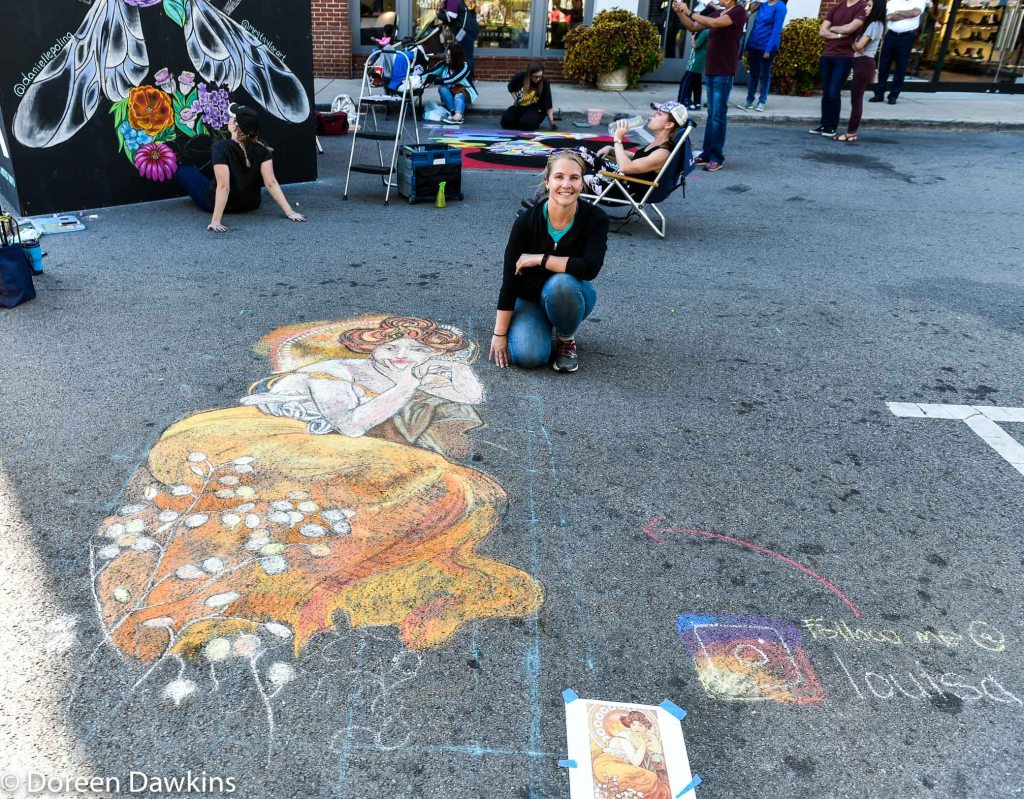 "Artist Louisa Heyer, ""Reproduction piece of Alphonse Mucuha"", Chalk the Block 2019"