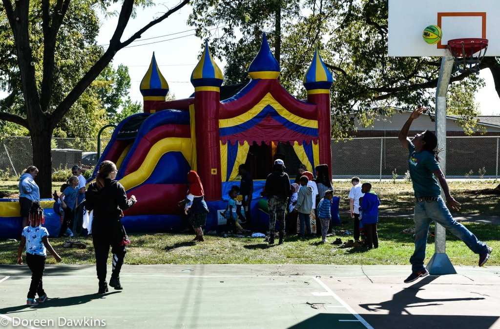 Bounce house at the  Harmony Project at Sullivant Gardens Community Center