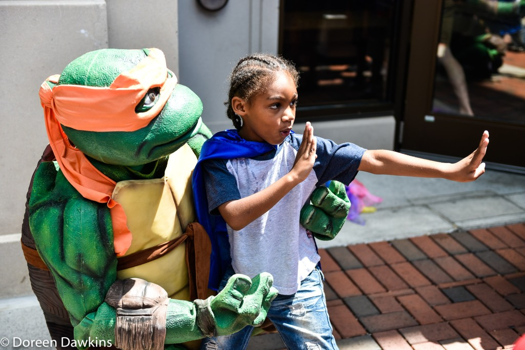 Who is the better ninja? at the  Superhero Day at Easton Town Center 2019