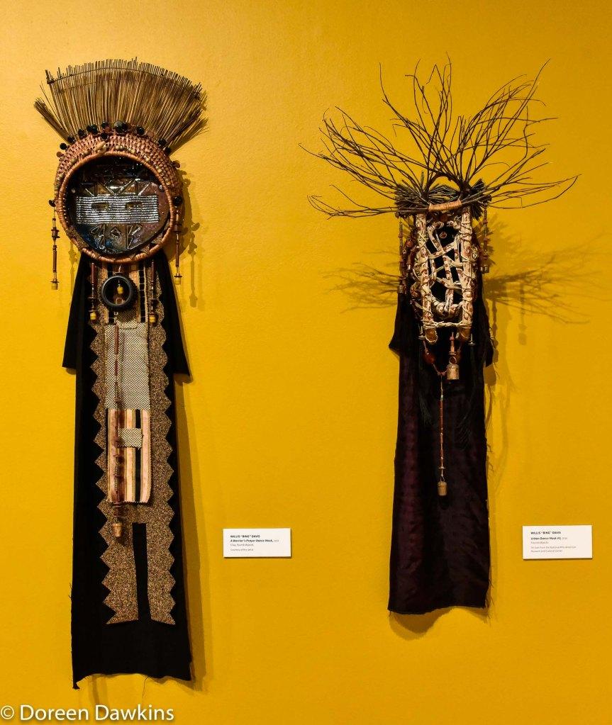 "Willis ""Bing"" Davis, ""A Warrior's Prayer Dance Mask"", and ""Urban Dance Mask #3)"", Ohio Diaspora featuring Curator Rosa Rojas."
