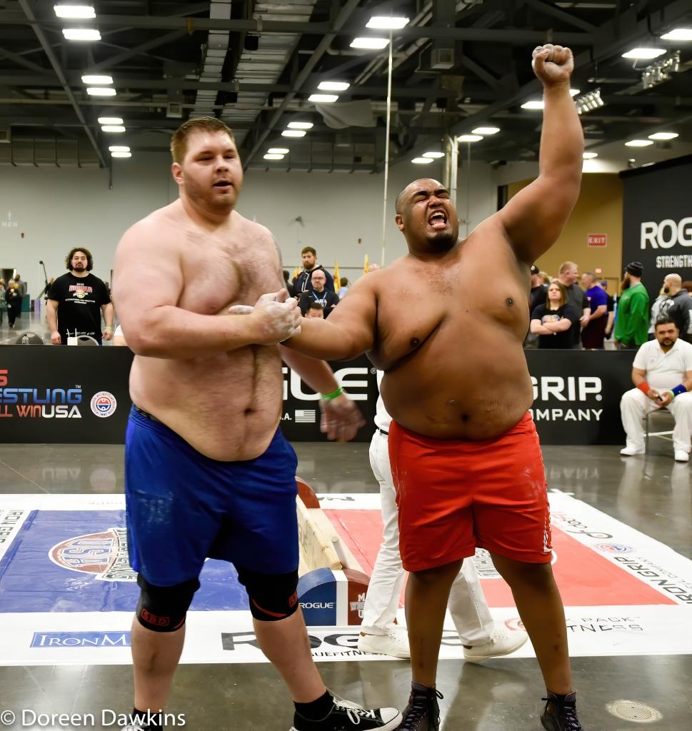 MAS Wrestler Ulice Payne celebrating at the Arnold Sports Festival 2020