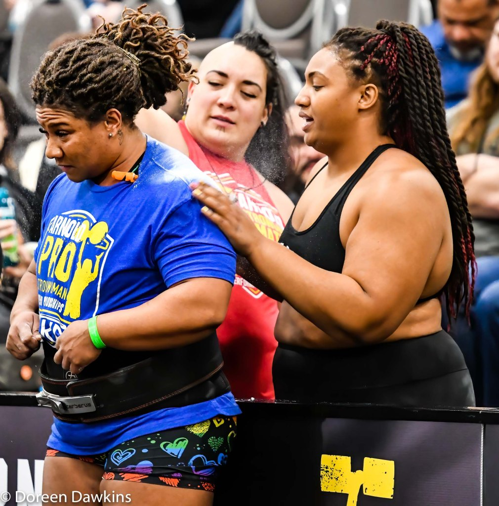The sisterhood, Pro Strongwoman Andrea Thompson and fellow Strongwomen (Pro Strongwoman Monica Johnson) Arnold Sports Festival 2020