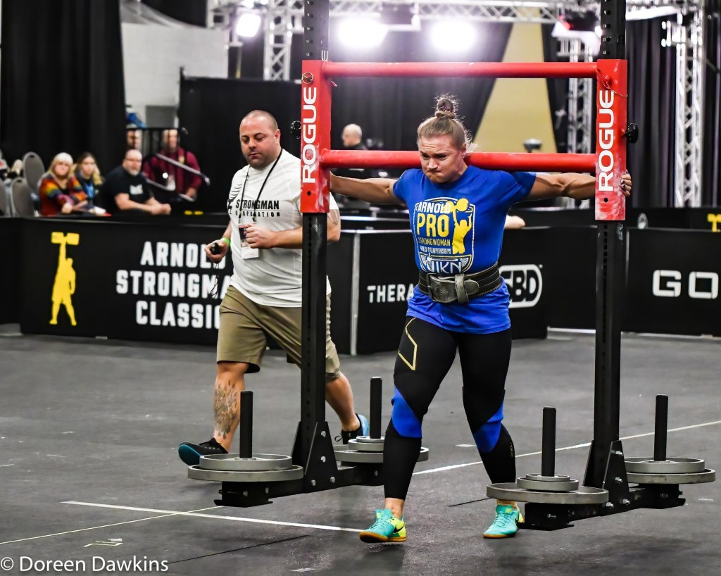 Pro Strongwoman second consecutive winner Olga Liashchuk (the yoke walk) at the Arnold Sports Festival 2020