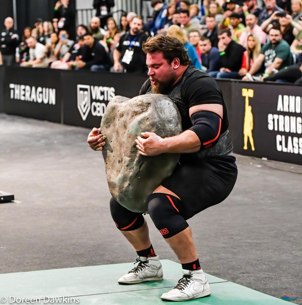 Third place Strongman Martins Licis (Trial by Stone) at the Arnold Sports Festival 2020