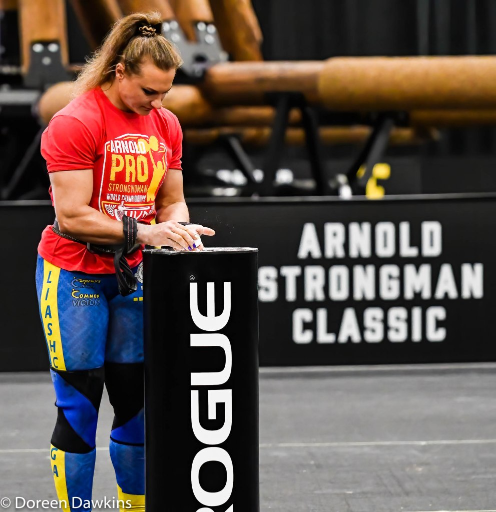 Pro Strongwoman second consecutive winner Olga Liashchuk (Prep for the Tire Deadlift) at the Arnold Sports Festival 2020