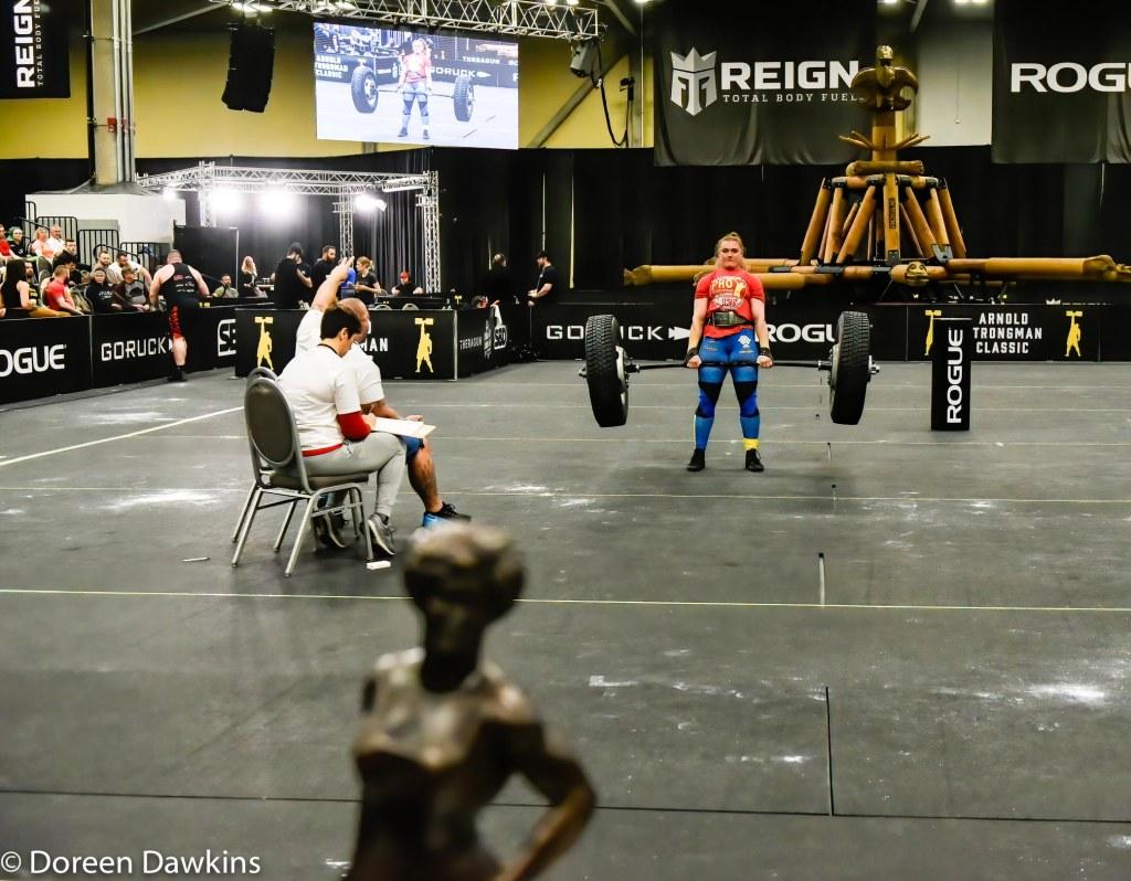 Pro Strongwoman second consecutive winner Olga Liashchuk (Tire Deadlift) at the Arnold Sports Festival 2020