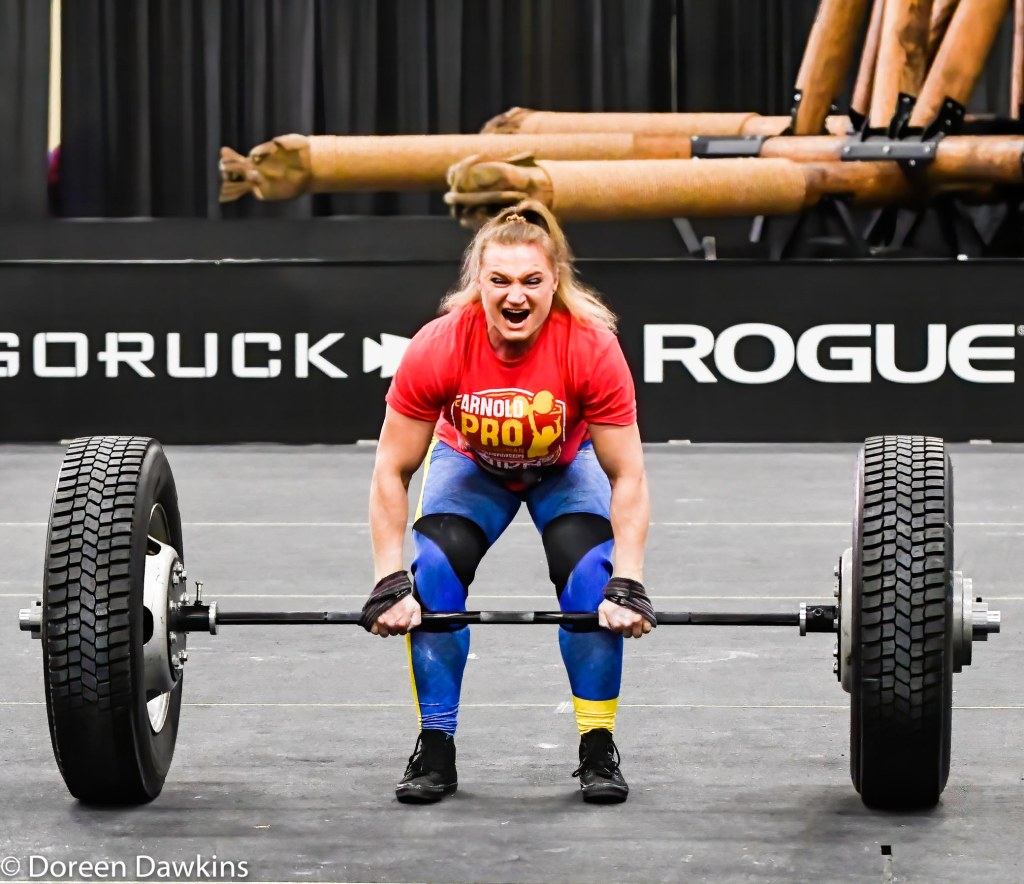 Pro Strongwoman second consecutive winner Olga Liashchuk (Tire Deadlift) at the Arnold Sports Festival 2020