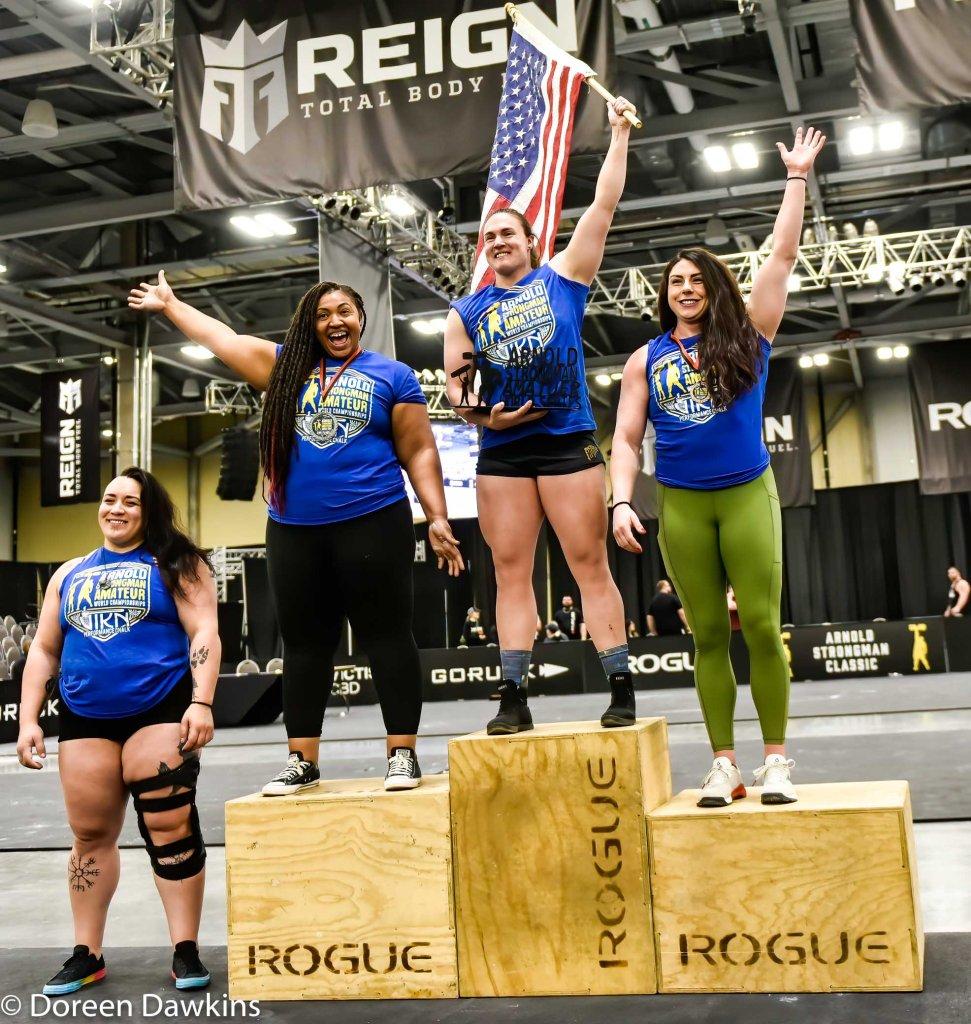 Top four Amateur Strongwomen (1 Hannah Linzay, 2 Monica Johnson, 3 Britta Maggard, 4 Julia Hamilton at the Arnold Sports Festival 2020