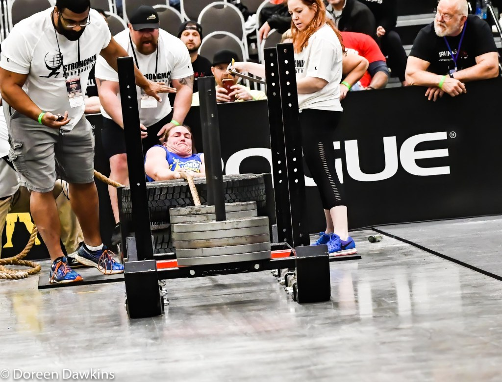 Strongwoman Hannah Linzay competing (Sled drag) in the Amateur Strongwoman event, Arnold Sports Festival 2020