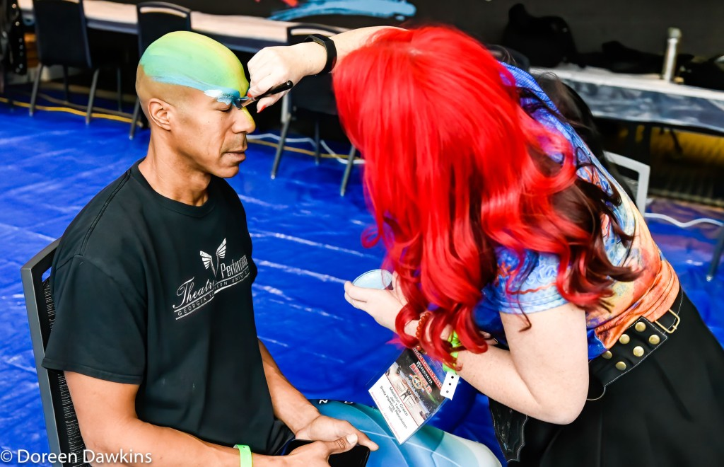 Model Dyon Holmes, Body Paint Exhibit at the Arnold Sports Festival 2020