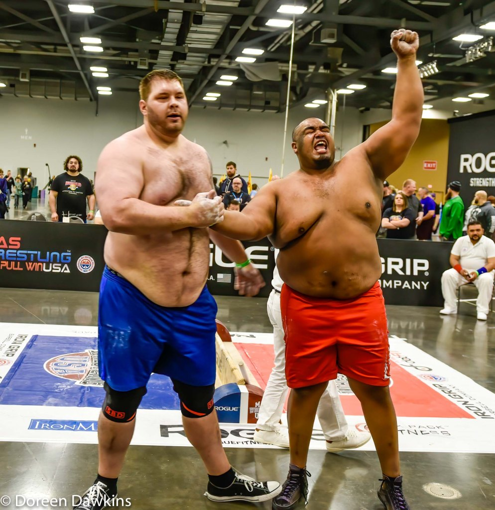 MAS Wrestling Heavyweight Champion Ulice Payne celebrating at the Arnold Sports Festival 2020