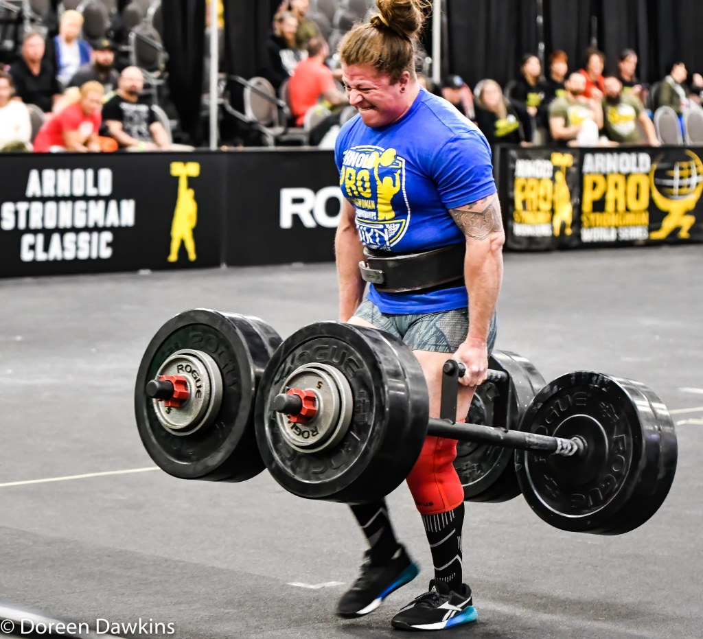 "Pro Strongwoman Danielle ""Dani"" Vaji (Farmer's Carry) at the Arnold Sports Festival 2020"