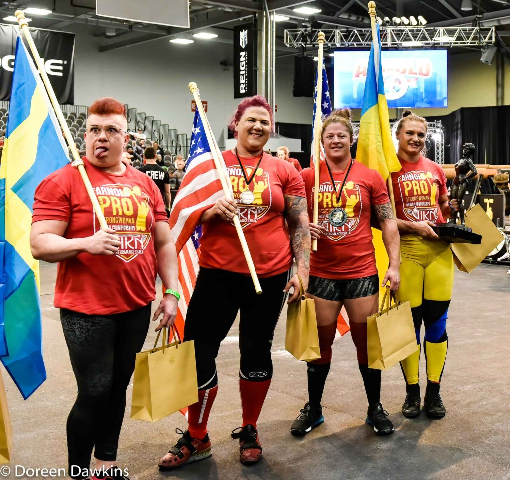 Pro Strongwoman top four athletes (1. Olga Liaschuck (Ukraine), 2. Danielle Vaji (USA), 3. Jessica Fithen (USA), 4. Anna Harrjapaa (Sweden)) at the Arnold Sports Festival 2020