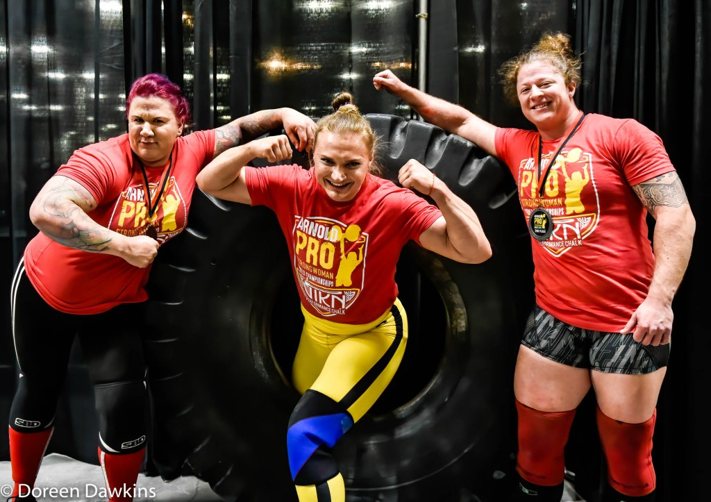 Pro Strongwoman top three athletes (1. Olga Liaschuck (Ukraine), 2. Danielle Vaji (USA), 3. Jessica Fithen (USA)) at the Arnold Sports Festival 2020