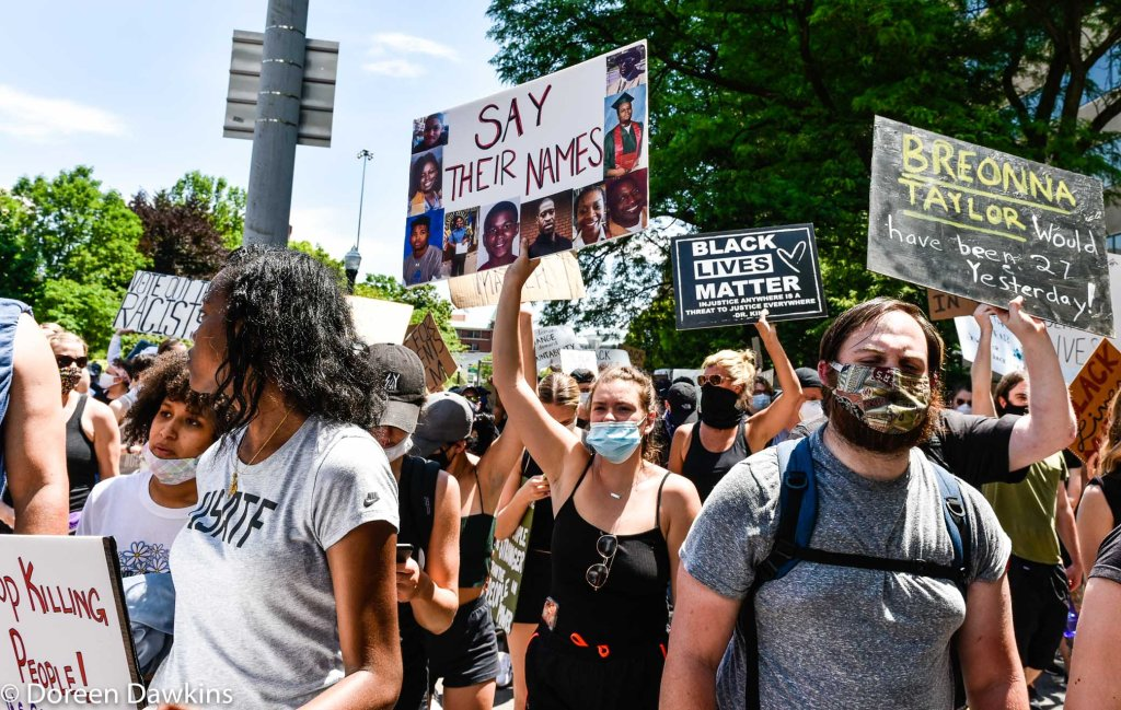 On the way to the Ohio Statehouse protest, COVID-19 Break: Black Lives Matter Protest- Columbus