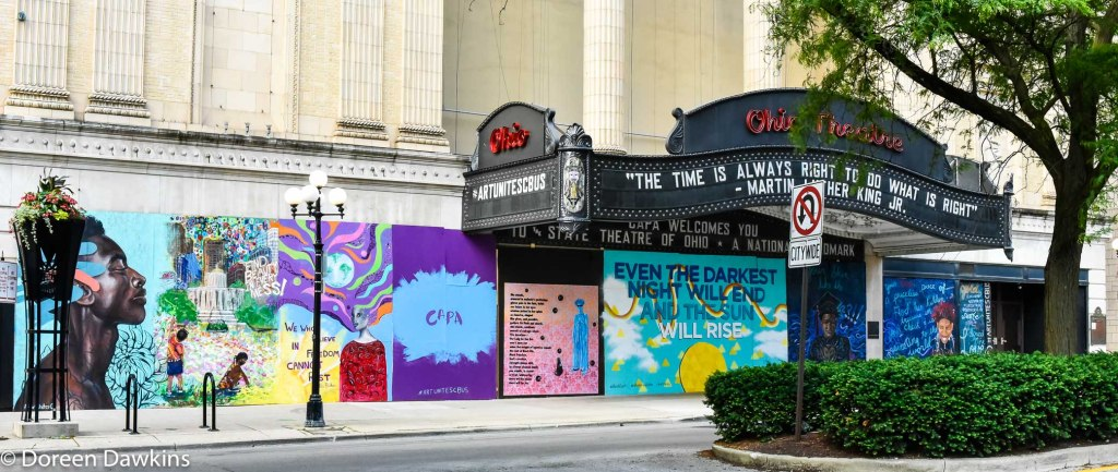 COVID-19 Break: Downtown Columbus Damage Property turned to Art: Ohio Theatre, #artunitescbus