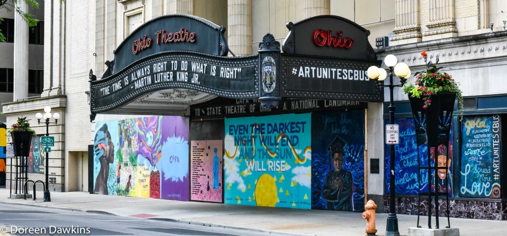 Mural at Ohio Theatre, 39 E. State Street, Columbus, OH 43216, COVID-19 Break: Downtown Property Damage turned to Art: Artists Participation, #ArtUnitesCbus