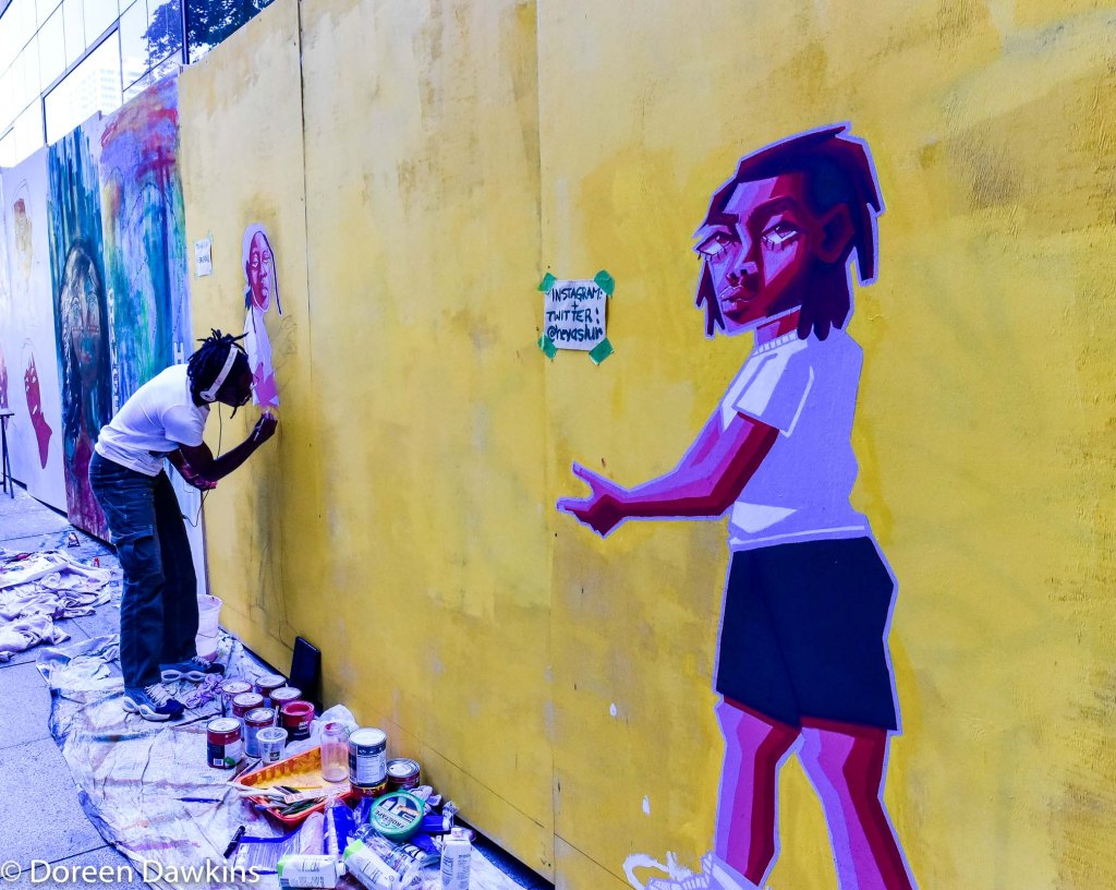 Jania Rakes, Downtown Columbus Property Damage turned to Art: Huntington Center, #ArtUnitesCbus, COVID-19 Break: Downtown Columbus Property Damage turned to Art: Huntington Center, #ArtUnitesCbus, #board41