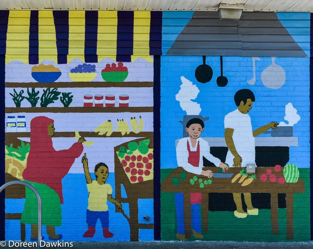 Mural designed by John Sunami, COVID-19 Break: All People Fresh Market